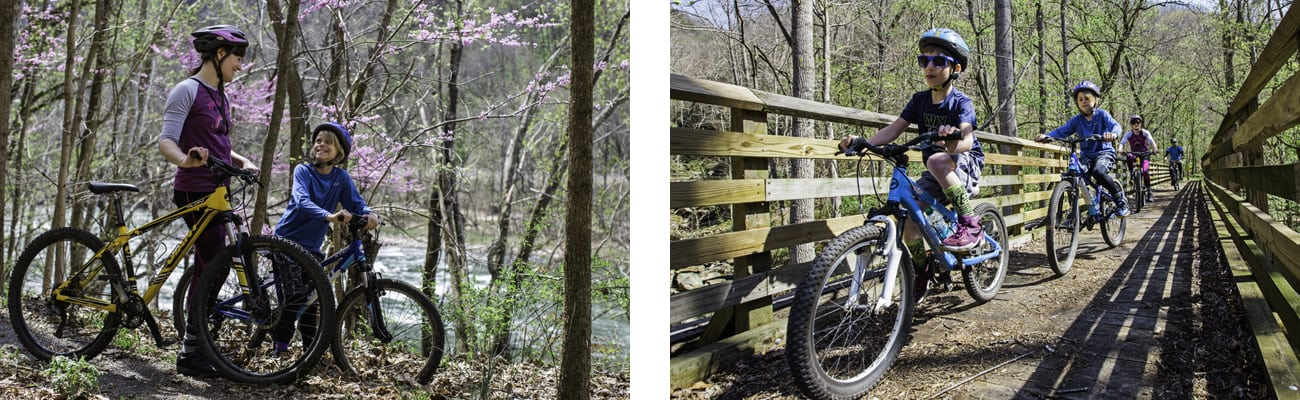 A mother and her young children take the guided mountain bike tour through the New River Gorge with ACE Adventure Resort, riding beginner friendly trails alongside the New River.