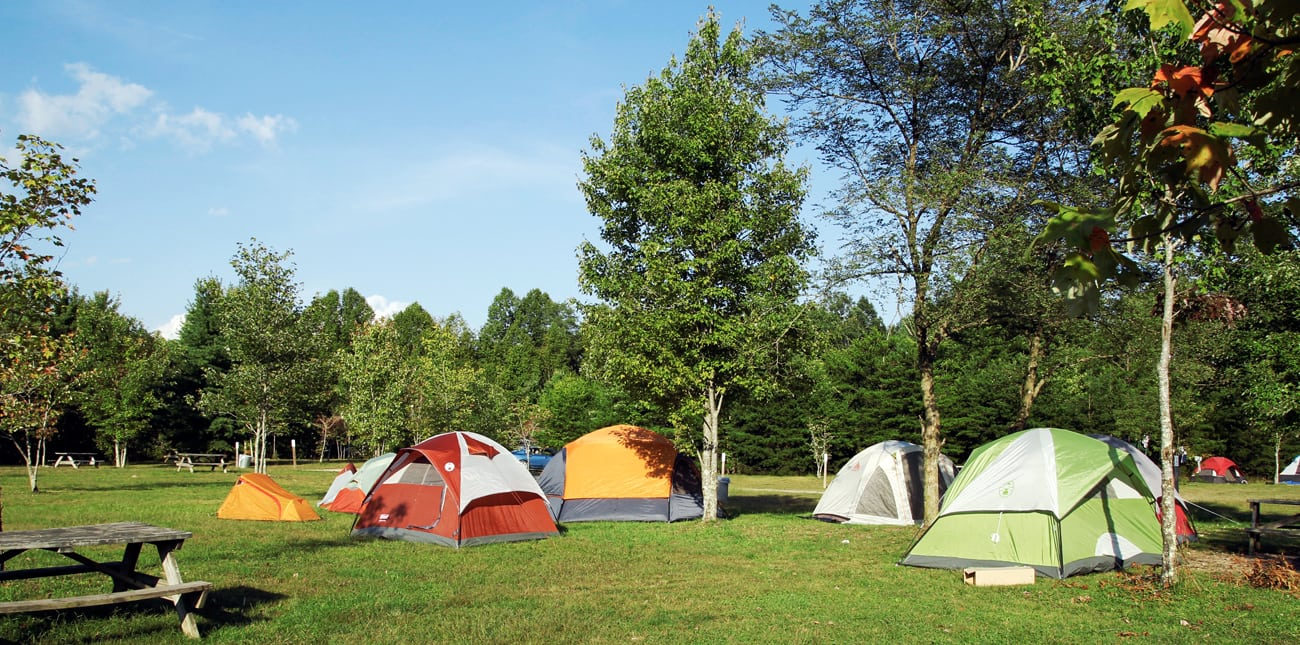 Tents prepared at the campsite on the mountain top campground at ACE Adventure Resort in West Virginia.