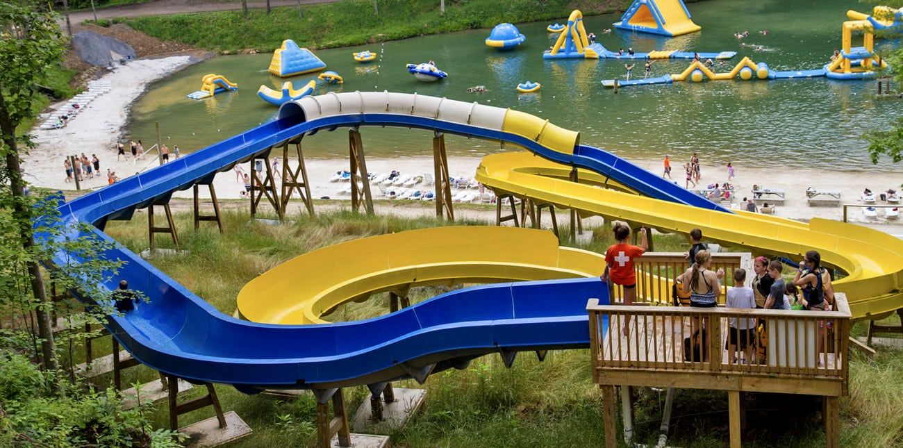 The two water slides above the beach at Wonderland Waterpark in West Virginia at ACE Adventure Resort.