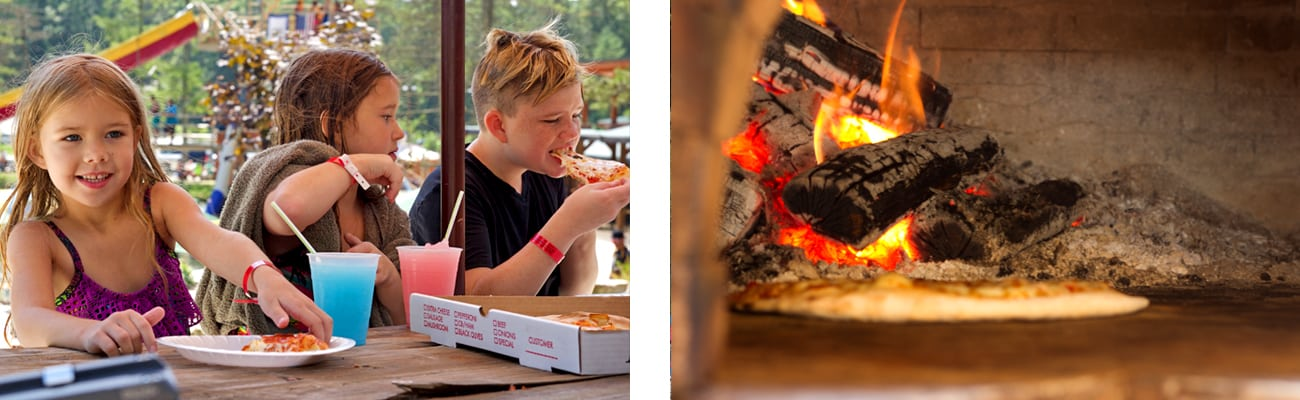 Kids eating pizza from a wood fired pizza oven at Wonderland Waterpark, a West Virginia family water parks, during Wonderful Wednesday.