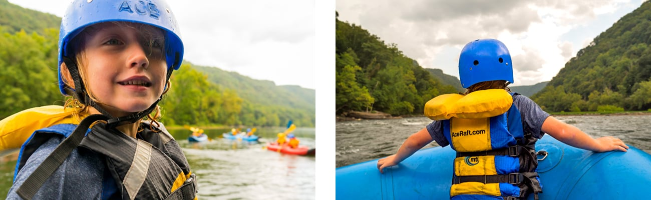 A kid enjoys river time in an oar raft on the Upper New River with ACE Adventure Resort in the New River Gorge.