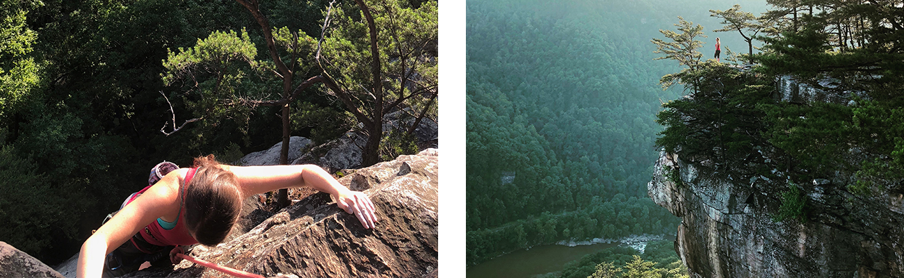 Climbing trips and guided hiking with ACE Adventure Resort at Endless Wall Trail in the New River Gorge, West Virginia.