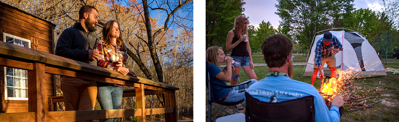 Beer on the porch of a Cozy Cabin rental and campground campfire at ACE Adventure Resort in the New River Gorge.