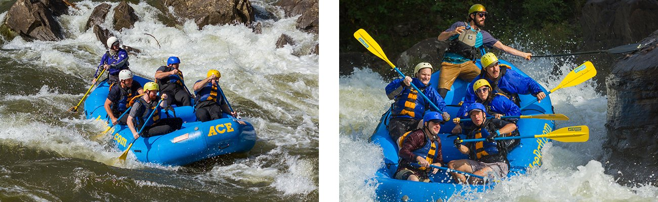 Class V whitewater rapids on a guided rafting trip with ACE Adventure Resort on the Upper Gauley River in West Virginia.