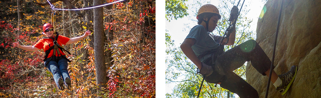 Zip lining and rappelling on a guided tour on ACE Adventure Resort property in the New River Gorge, West Virginia.