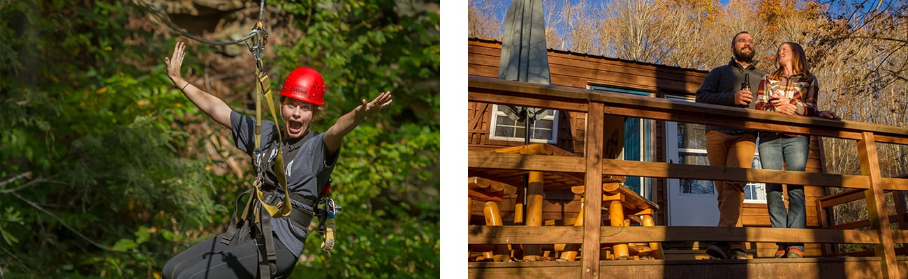 Zip lining and cabin camping at ACE Adventure resort, one of the best west virginia camping resorts.