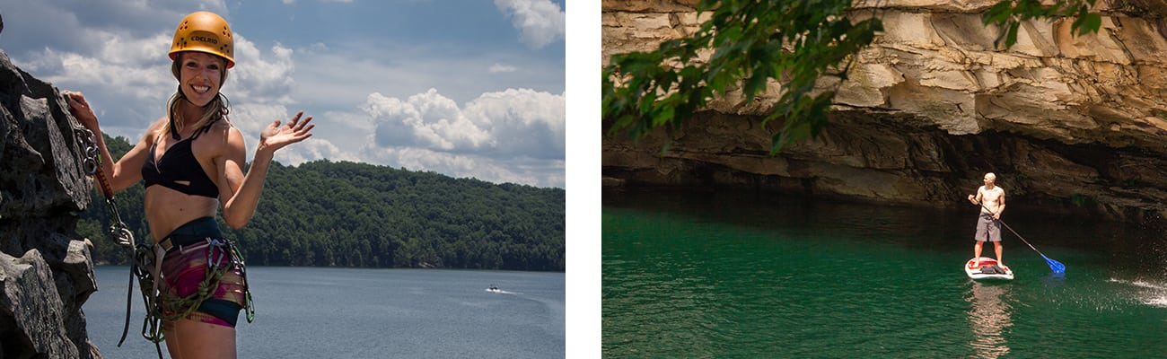 Sport climbing on cliffs at Summersville Lake, and SUP stand up paddle boarding next to a waterfall on the Summersville Lake pontoon adventure with ACE Adventure Resort in West Virginia.