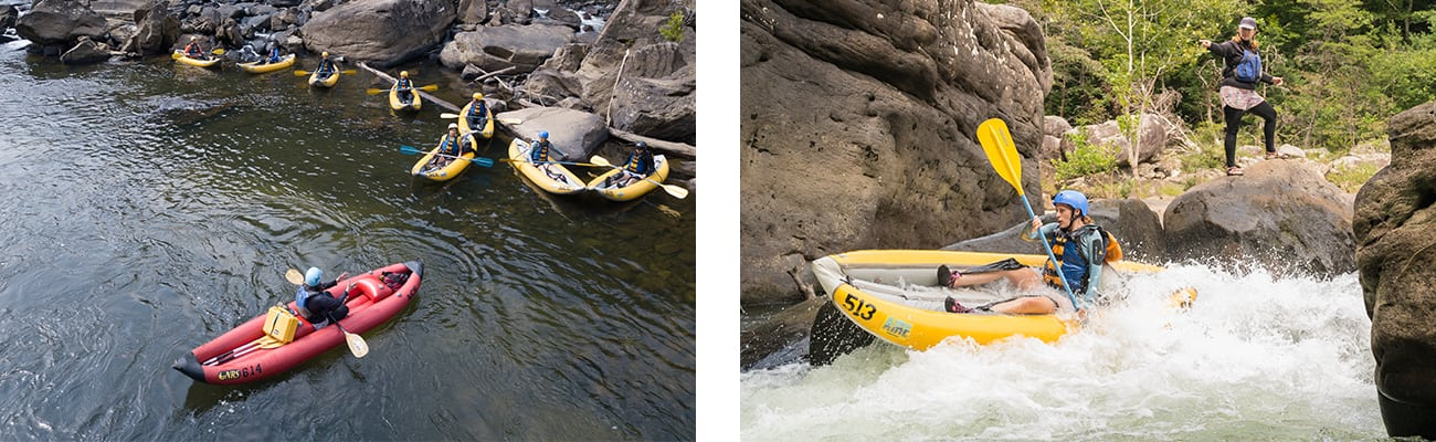 ACE Adventure Resort raft guides and guests paddle inflatable kayak duckies on the summer Gauley in West Virginia.