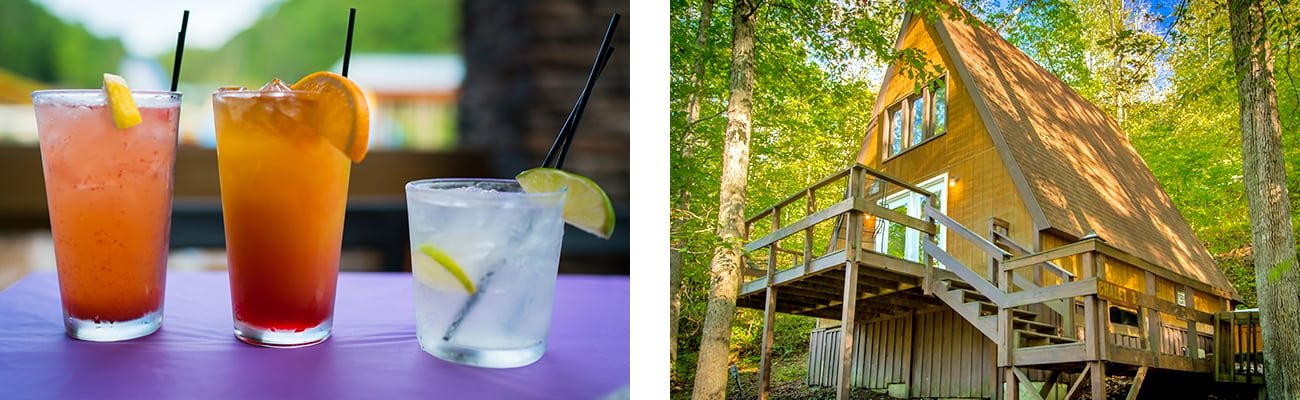 Cocktails and beer at the Lost Paddle bar and grill, and a cabin for rent at ACE Adventure Resort in West Virginia.