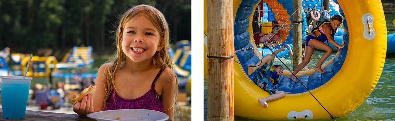 Kids eat pizza and play on the inflatable toys at Wonderland Waterpark at ACE Adventure Resort in West Virginia.