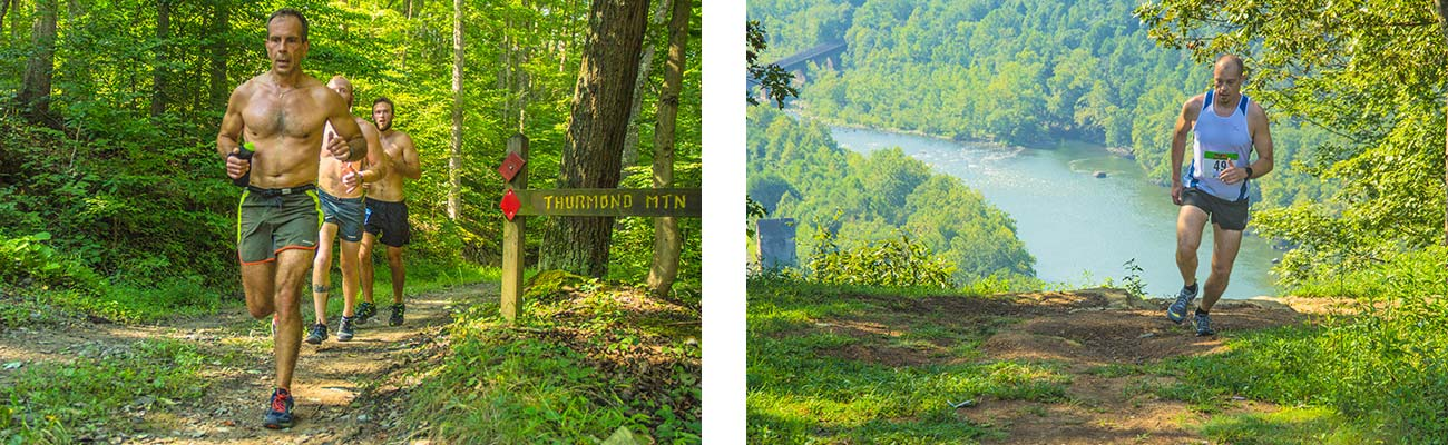 Runners pass Concho Overlook and return to the finish line during the New River Gorgeous Trail Run at ACE Adventure Resort in West Virginia.
