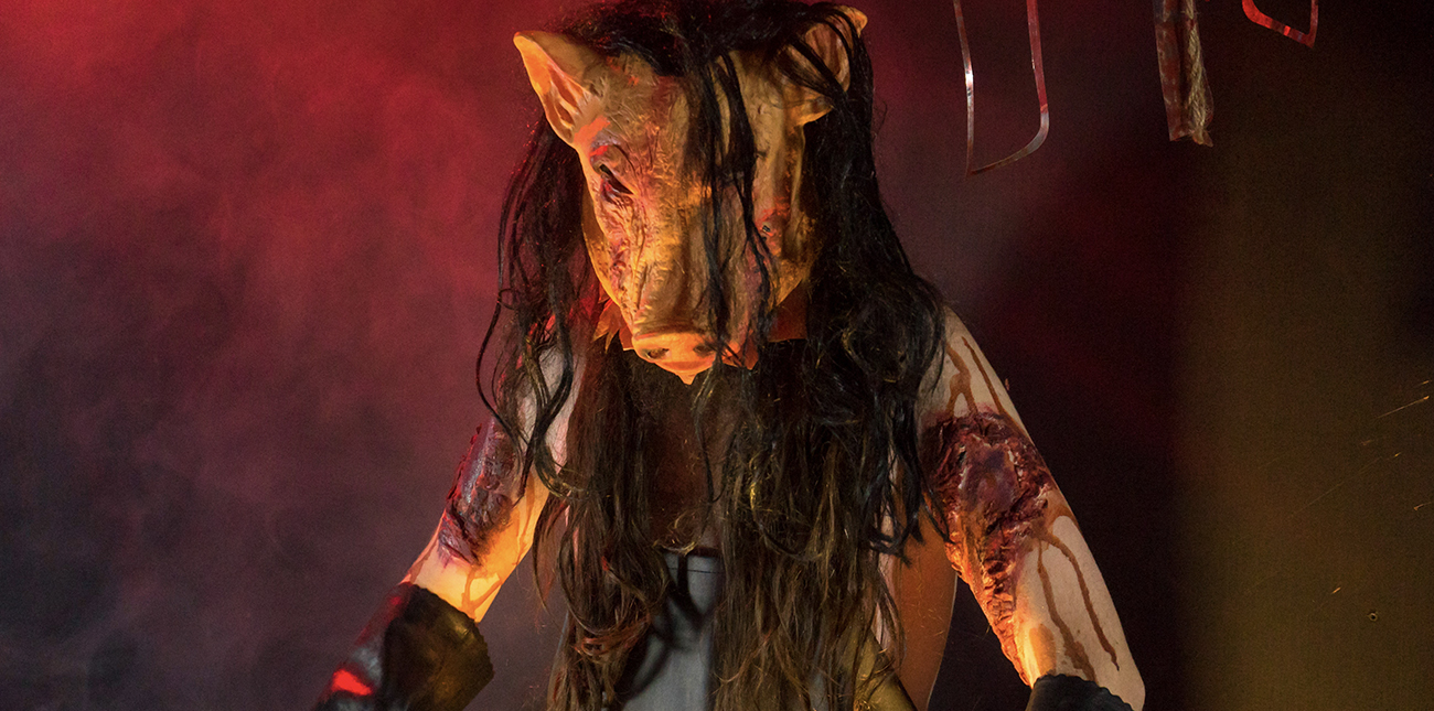 The Mad Butcher in his warehouse at Nightmare in the Gorge haunted house at ACE Adventure Resort in West Virginia.