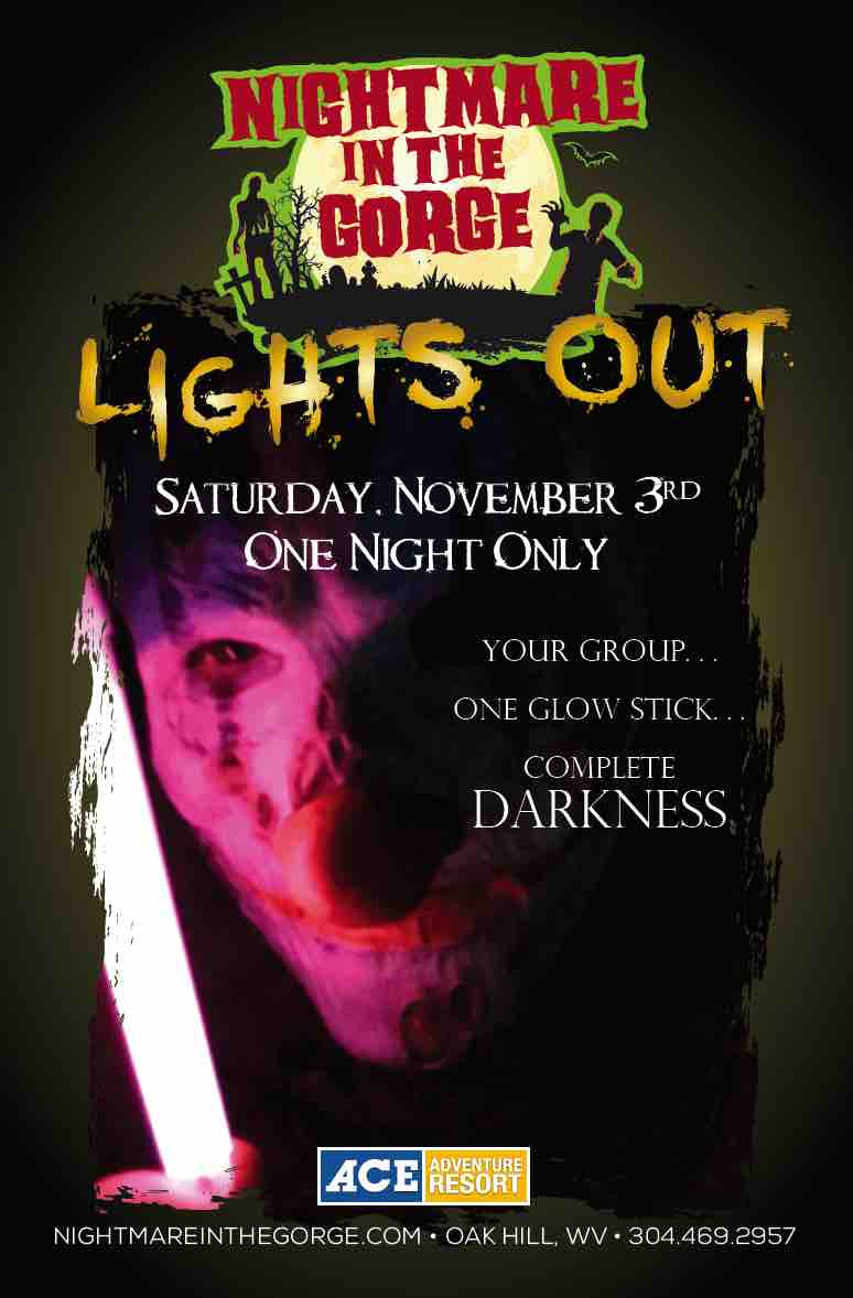 Lights Out poster for event at Nightmare in the Gorge at ACE Adventure Resort