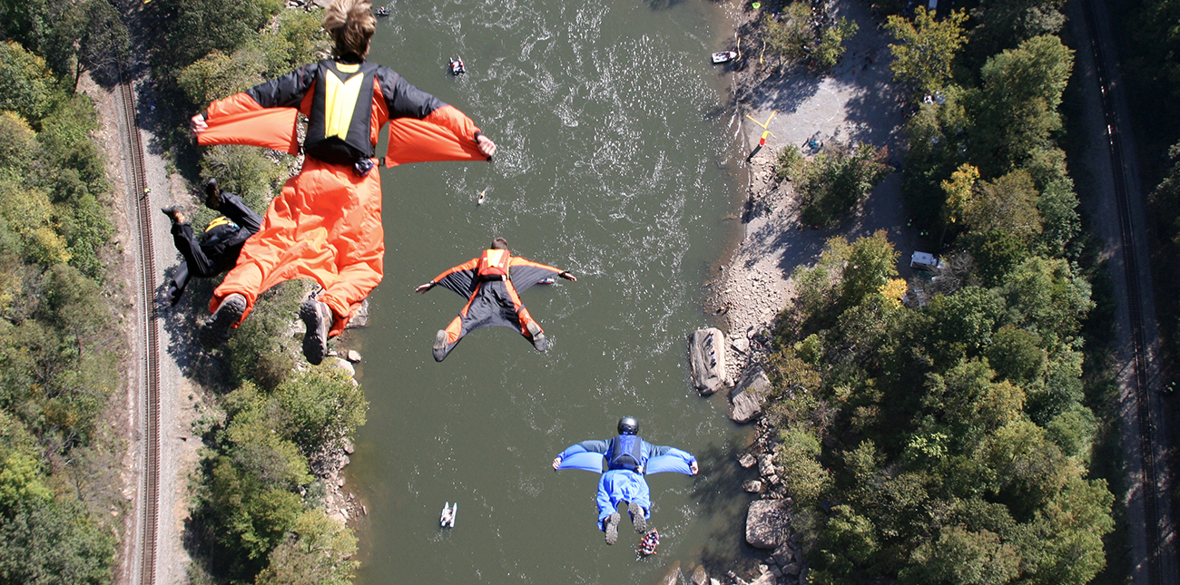 BASE jumping in squirrel suits on Bridge Day in Fayetteville, West Virginia.