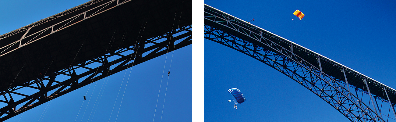 BASE jumping and rappelling on Bridge Day over the New River Gorge from the bridge in Fayetteville, West Virginia.