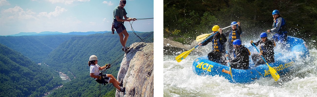 Rappelling and fall Gauley season whitewater rafting with ACE Adventure Resort in the New River Gorge in West Virginia.