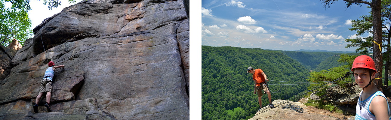 Rock climbing in the Lower New River Gorge with ACE Adventure Resort in West Virginia.