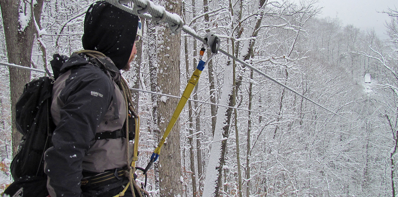 Winter zip lining in the snow at ACE Adventure Resort in WV.