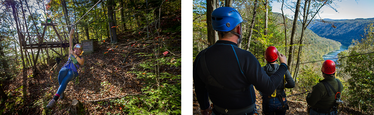 Fall zip lining in the New River Gorge with ACE Adventure Resort in West Virginia.