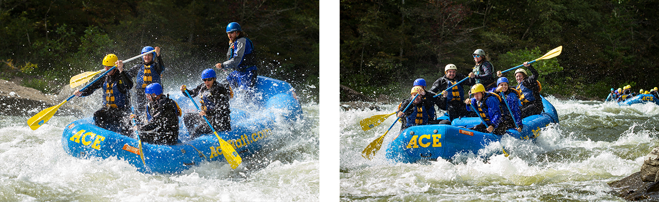 Wave trains and white water rafting on the Lower Gauley River in West Virginia with ACE Adventure Resort.