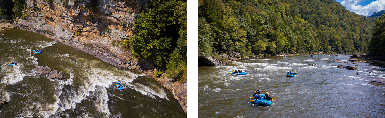 Scenic views and rapids on the Lower Gauley River within the Gauley National Recreation Area in West Virginia.