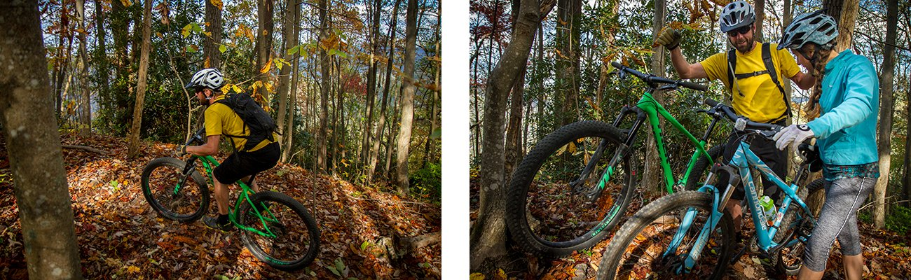 West Virginia mountain bike tours with ACE Adventure resort on single track trail in the New River Gorge.