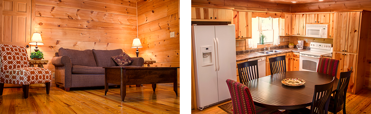 The kitchen and living room interior of Black Bear cabin at ACE Adventure Resort in Oak Hill, WV.