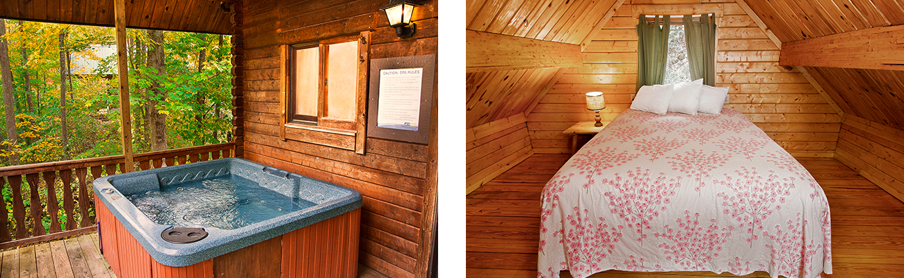 The porch hot tub and interior bedroom of the Log Cottage for rent at ACE Adventure Resort in West Virginia.
