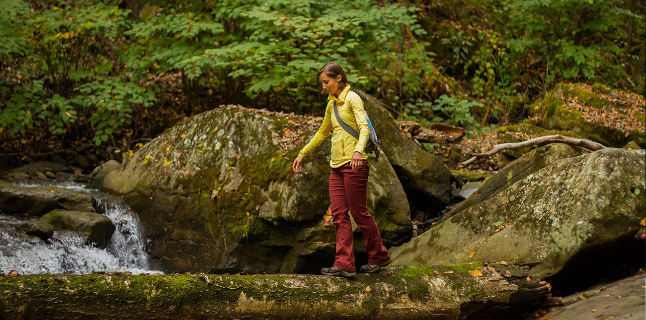 Guided hiking in West Virginia on ACE property in the New River Gorge.