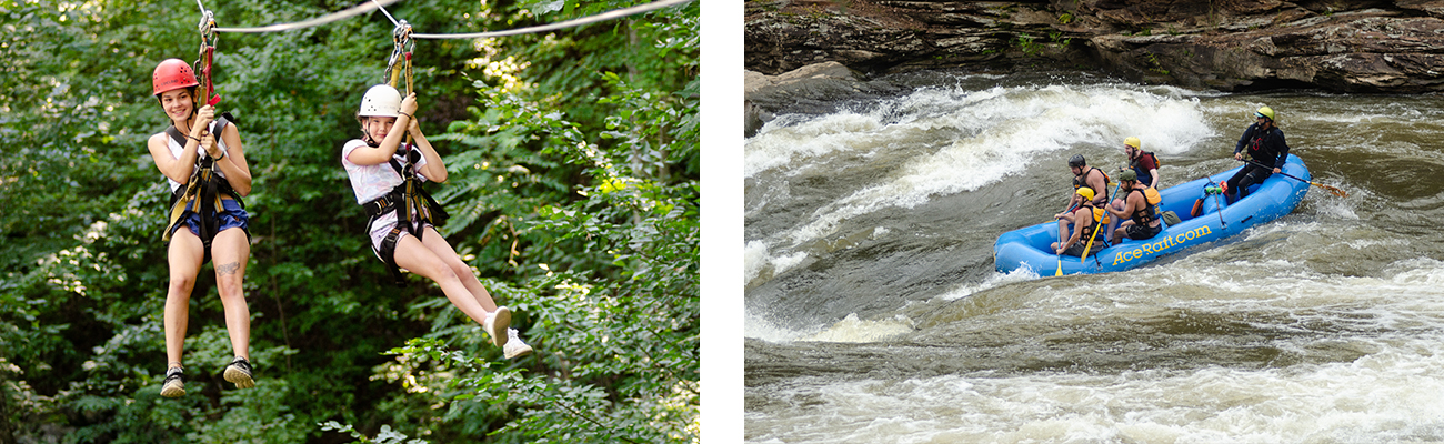Zip line tours and whitewater rafting in the New River Gorge with ACE Adventure Resort.