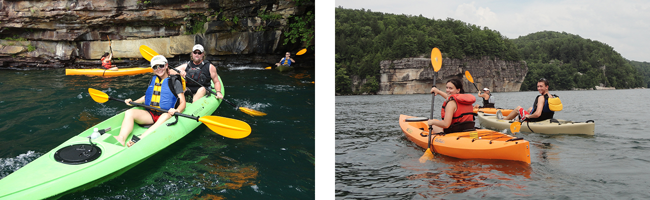 Flatwater kayaking with ACE Adventure Resort on Summersville Lake in West Virginia.