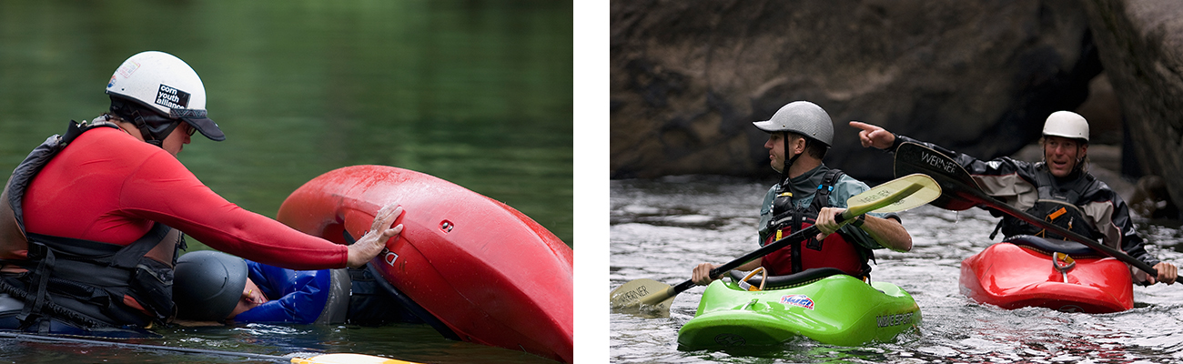 Katak instruction clinics for beginners and different skill levels on the New River with ACE Adventure Resort.
