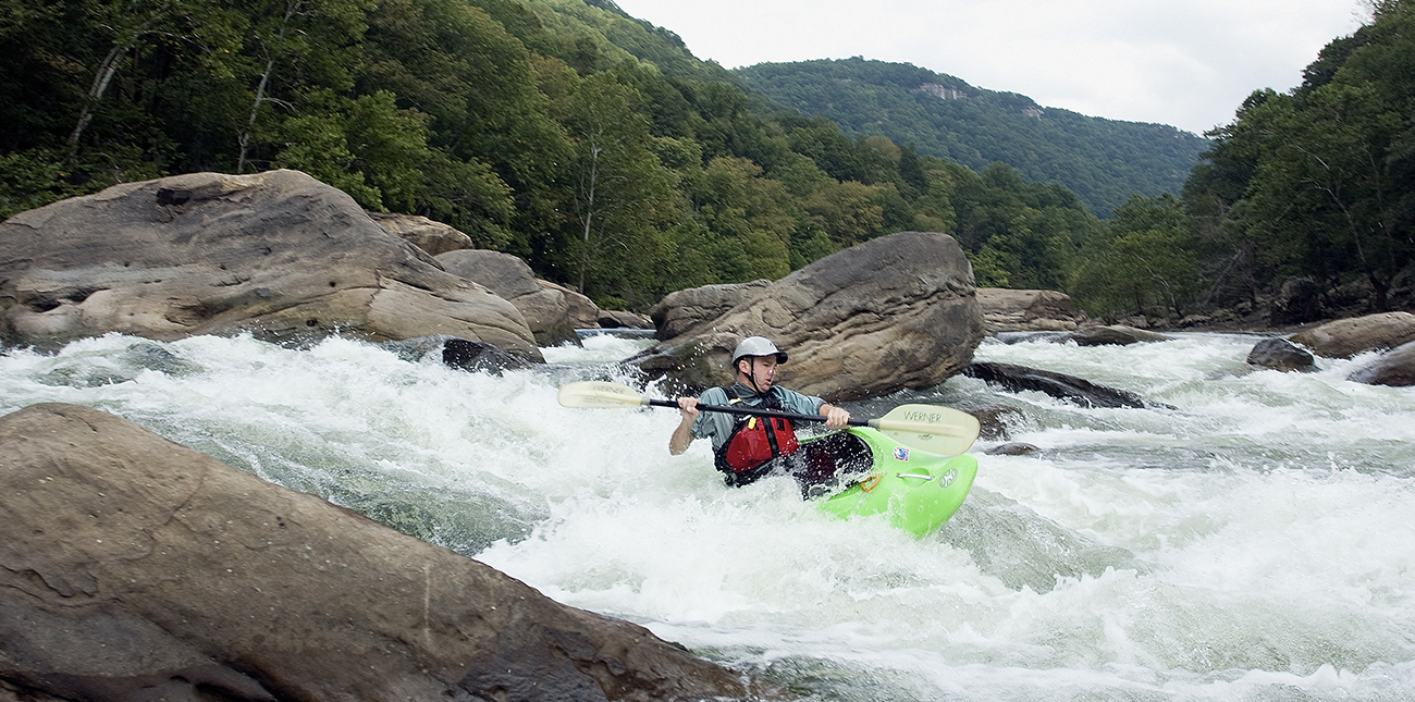 A whitewater kayak clinic on the New River with ACE Adventure Resort in West Virginia.