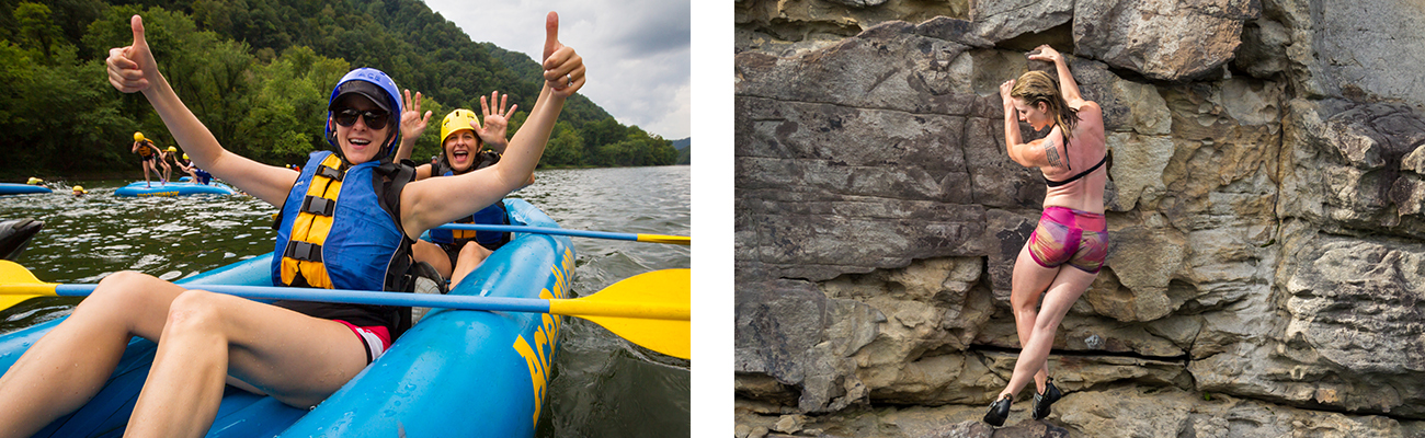 West Virginia adventures whitewater rafting and climbing at Summersville Lake on guided tours with ACE Adventure Resort.