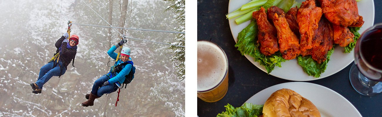 Guided winter zip line tours and hot food at the Lost Paddle during a winter weekend cabin getaway at ACE Adventure Resort in the New River Gorge, West Virginia.