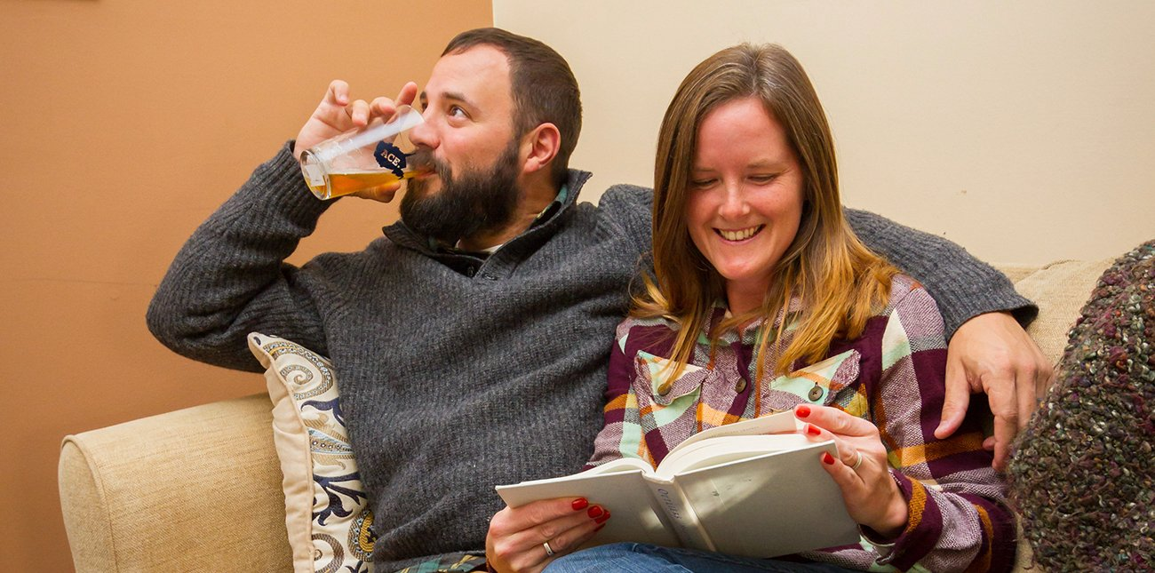A couple enjoy the winter weekend cabin special at ACE Adventure Resort in the New River Gorge, West Virginia.