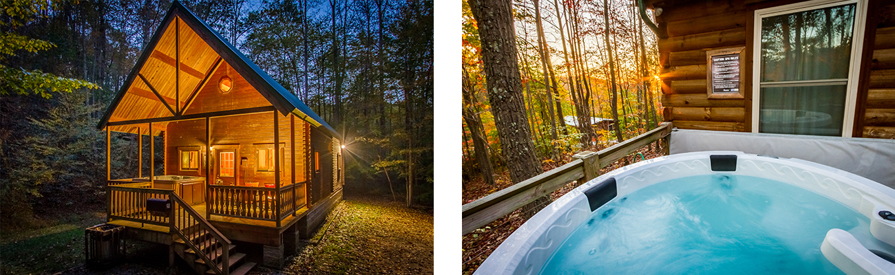 The Aspen Log Home and an outdoor hot tub at ACE Adventure Resort in the New River Gorge, West Virginia.