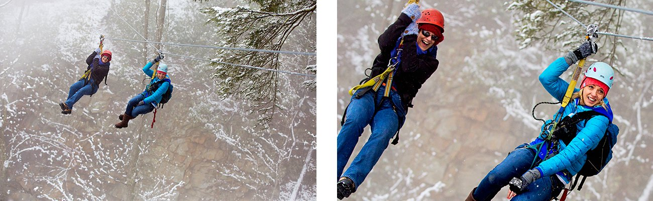 Zip lining through the gorge during a snowy winter zip line tour with ACE Adventure Resort in southern West Virginia.