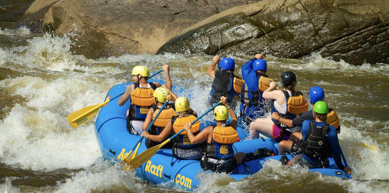 A raft enters Backbender, one of the biggest hits on the Gauley River, on a guided tour with ACE Adventure Resort in West Virginia.