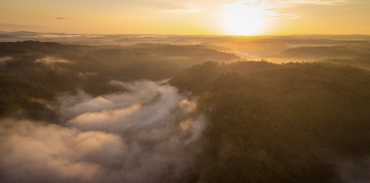 A sunrise over the Upper Gauley River before a rafting trip in West Virginia.