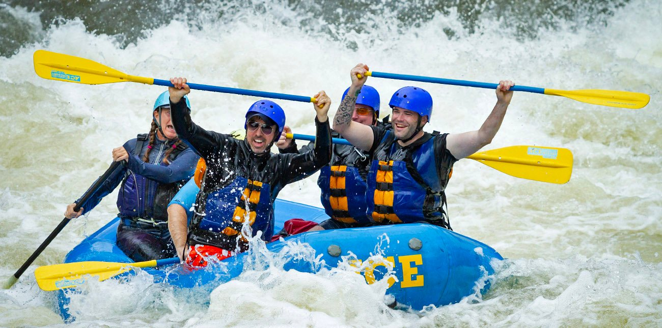 Rafting class V whitewater rapids on the Upper Gauley River with ACE Adventure Resort in West Virginia.