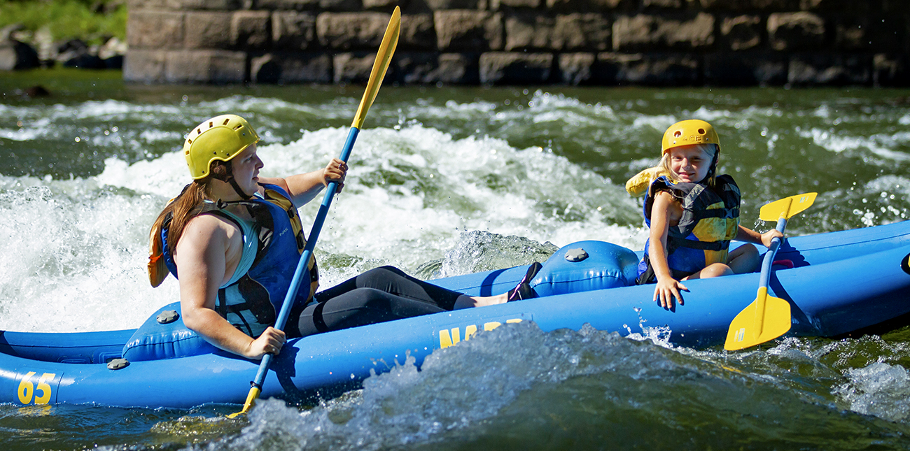 Whitewater rafting trips for girls under 12 available with ACE on the New River.