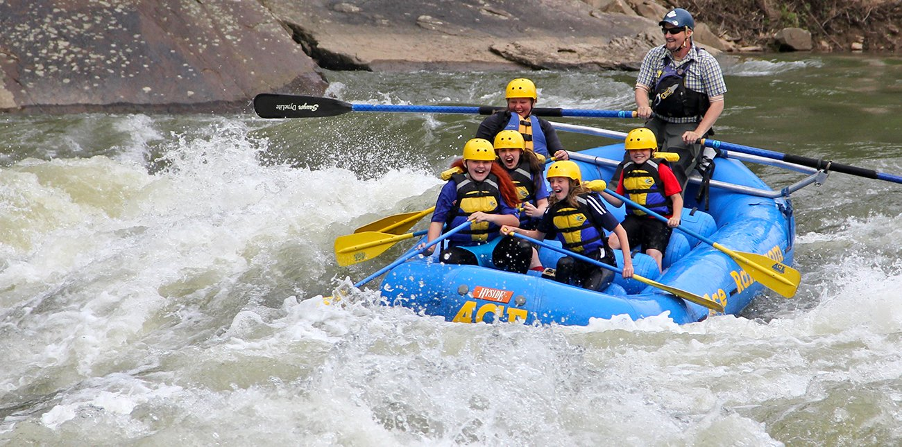 Whitewater rafting trips for girls over 12 years old include a challenge on the Lower New River with lunch served riverside, in the New River Gorge with ACE Adventure Resort.