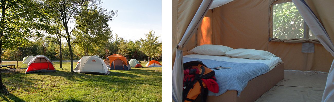 Tent camping at ACE campground, and upgrades to cabin tents for GIRL Fest 2019, at ACE Adventure Resort in WV.