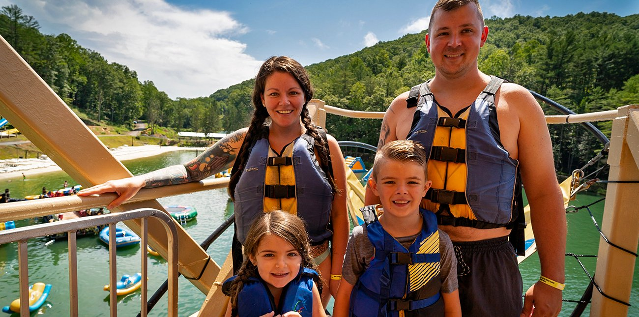 A family enjoys the day out at Wonderland Waterpark at ACE Adventure Resort in the New River Gorge.