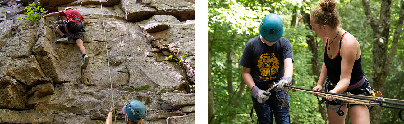 Students learn geology with rappelling and rock climbing in a STEM course at ACE Adventure Resort's outdoor classroom in the New River Gorge, West Virginia.