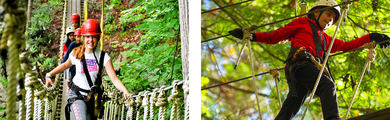 STEM students study ecology with a zip line canopy tour in ACE Adventure Resort's outdoor classroom in the New River Gorge, West Virginia.