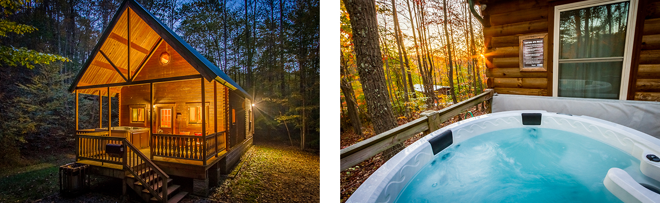 Cabins with hot tubs available for rent at winter discount at ACE Adventure Resort in Southern West Virginia.