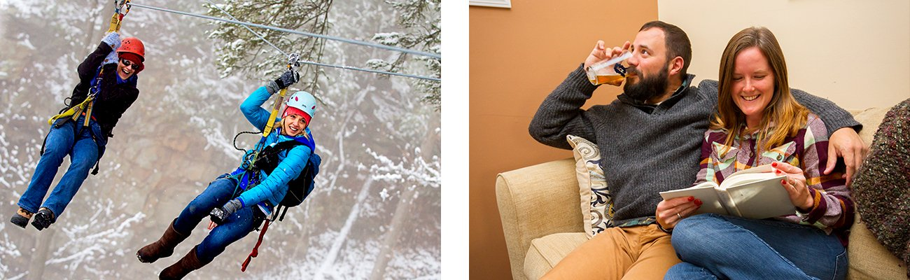 Winter zip lining activities and cabin rentals come with optional delivered catering from Rezan in the New River Gorge.