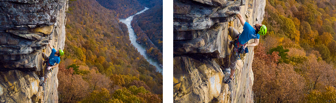 Climbing hard sandstone walls in the New River Gorge, West Virginia.